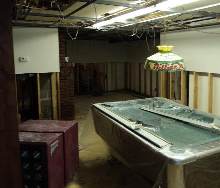 Basement water damage after